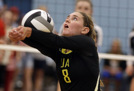 Ursuline's Alyssa Steller   during the Lions volleyball game against Mount Notre Dame,